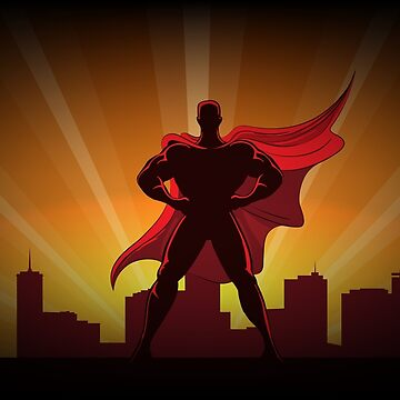 Superhero Silhouette in Red Cape by Gertot1967
