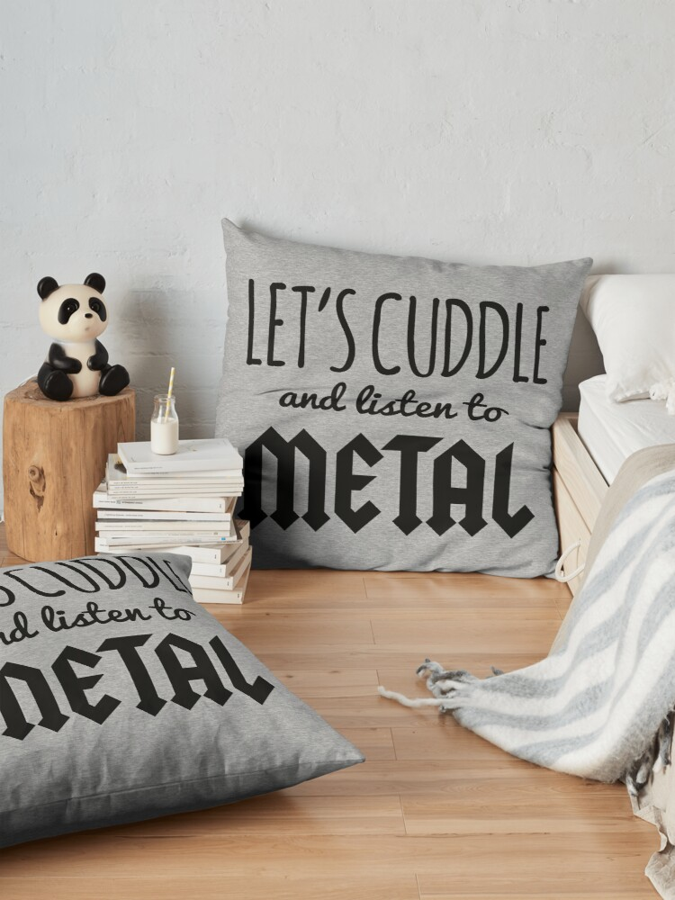 Vista alternativa de Cojines de suelo Cuddle Listen To Metal (Heather) Music Quote