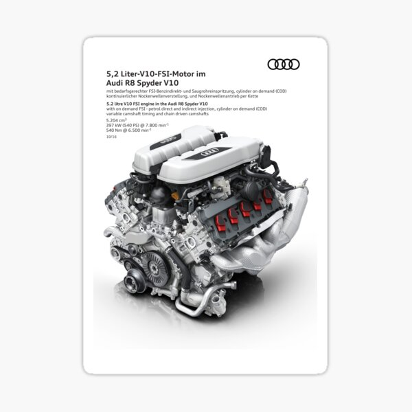 Audi R8 Spyder V10 5.2 Liter FSI Engine Diagram Photographic Print Sticker