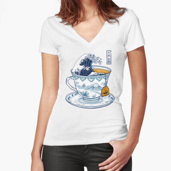The Great Kanagawa Tea Fitted V-Neck T-Shirt