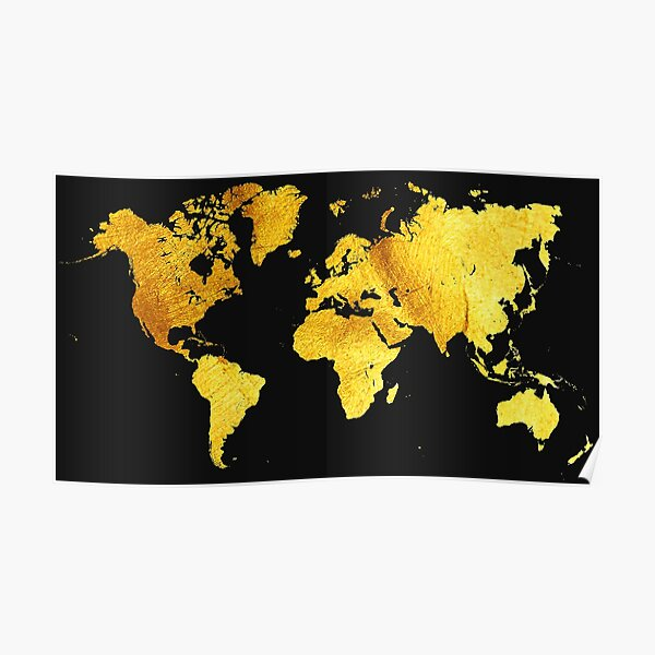 Black and Gold Map of The World - World Map for your walls Poster