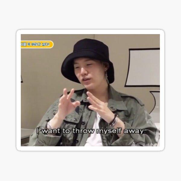 BTS Suga Throw Myself Away Meme Sticker