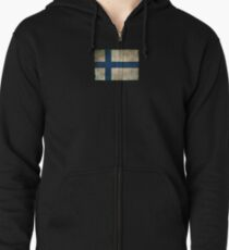 Old and Worn Distressed Vintage Flag of Finland Zipped Hoodie