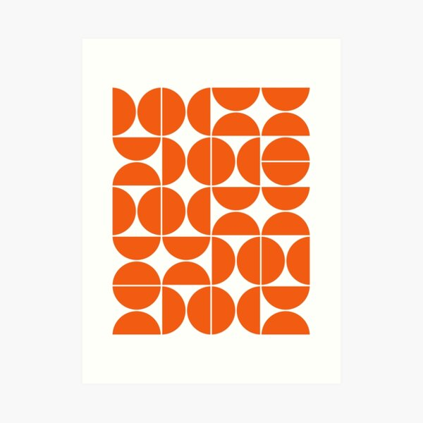 Mid Century Modern Geometric 04 Orange Art Print