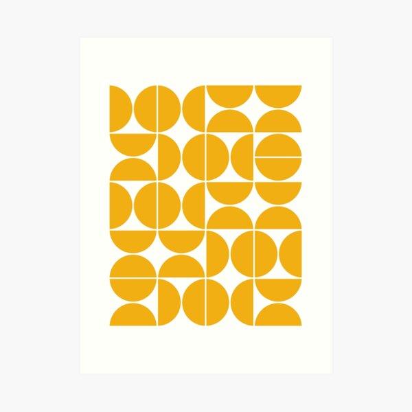 Mid Century Modern Geometric 04 Gelb Kunstdruck