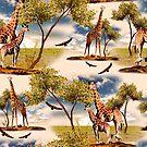 Giraffe and Beautiful Nature by Burcu Korkmazyurek