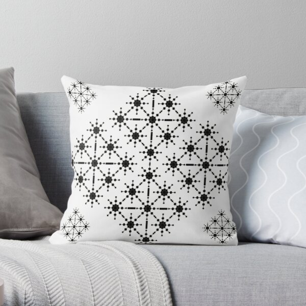 Black and White  Monochrome Macro - Geometric Starlight  Throw Pillow