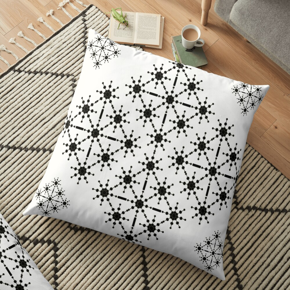 Black and White  Monochrome Macro - Geometric Starlight By ArtandPatterns1 Floor Pillow