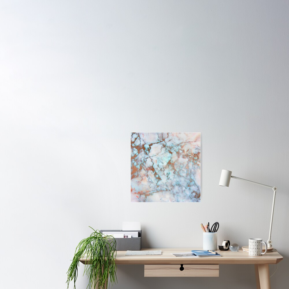 Copper Veins on light blue marble Poster