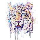 Watercolor Leopard Head by Marian  Voicu