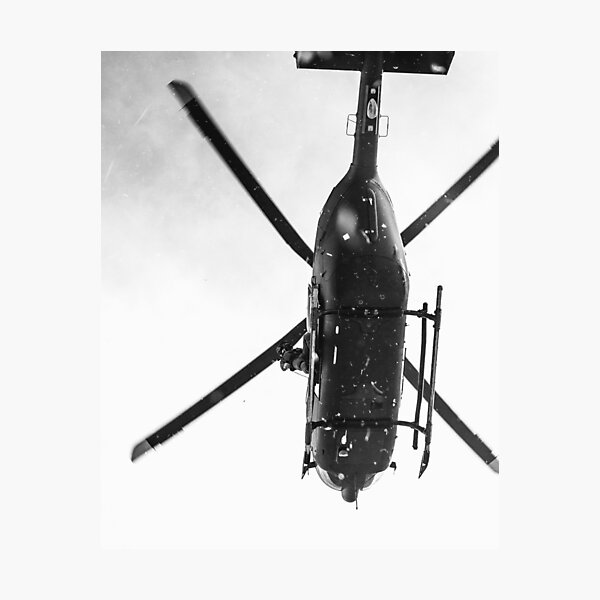 Black and White Helicopter  Photographic Print