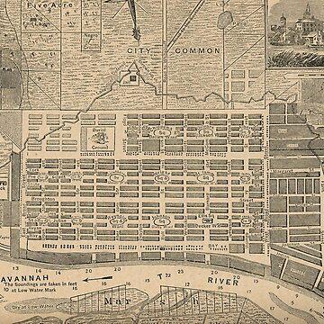 Vintage Map of Savannah Georgia (1818) by BravuraMedia