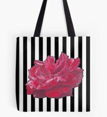 Red Rose On Stripes Tote Bag