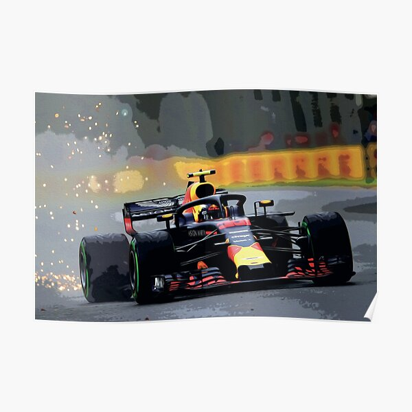 Max Verstappen racing with sparks oil painting Poster