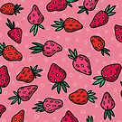 Pink Strawberry Pattern by Bronte Carr