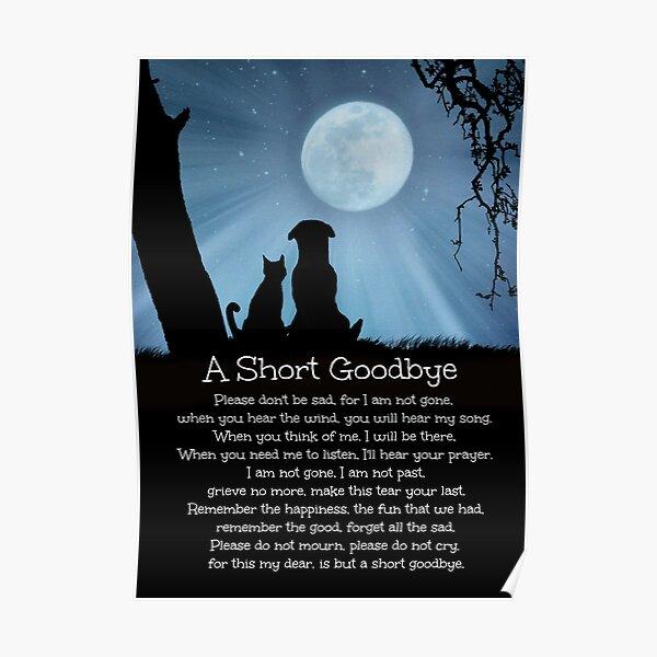 Dog Cat Memorial Sympathy Tribute Spiritual  Poem Poster