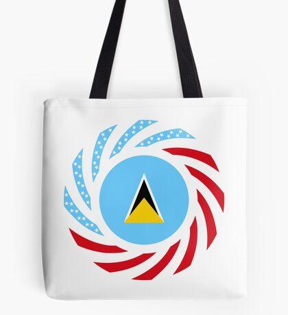 Saint Lucian American Multinational Patriot Flag Series Tote Bag