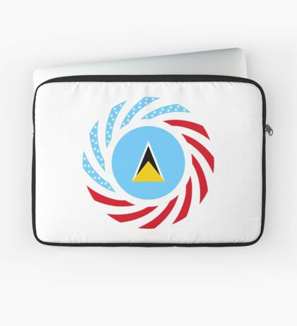 Saint Lucian American Multinational Patriot Flag Series Laptop Sleeve
