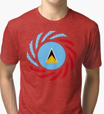 Saint Lucian American Multinational Patriot Flag Series Tri-blend T-Shirt