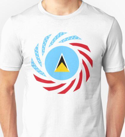 Saint Lucian American Multinational Patriot Flag Series T-Shirt