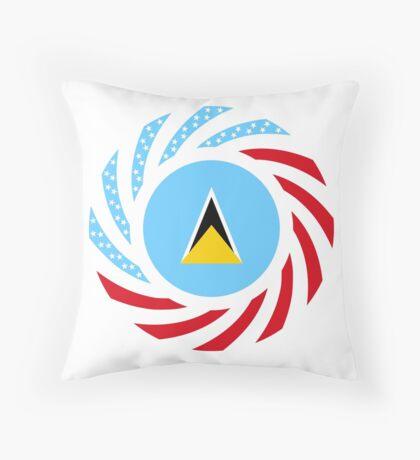 Saint Lucian American Multinational Patriot Flag Series Floor Pillow
