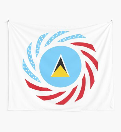 Saint Lucian American Multinational Patriot Flag Series Wall Tapestry
