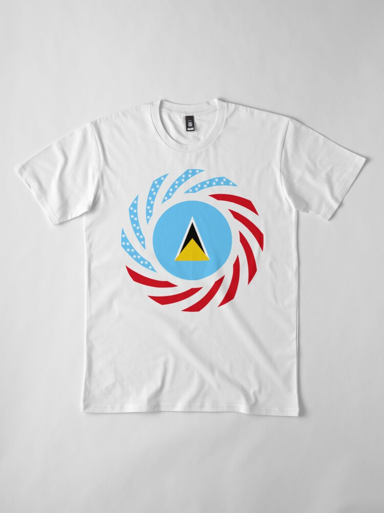Alternate view of Saint Lucian American Multinational Patriot Flag Series Premium T-Shirt