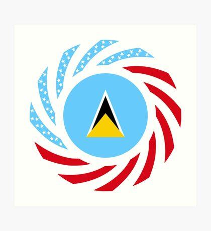 Saint Lucian American Multinational Patriot Flag Series Art Print