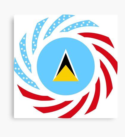 Saint Lucian American Multinational Patriot Flag Series Canvas Print