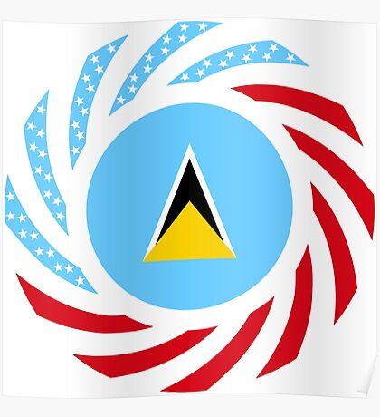 Saint Lucian American Multinational Patriot Flag Series Poster