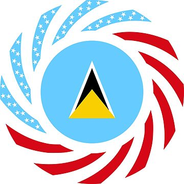 Saint Lucian American Multinational Patriot Flag Series by carbonfibreme
