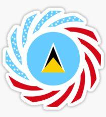 Saint Lucian American Multinational Patriot Flag Series Sticker