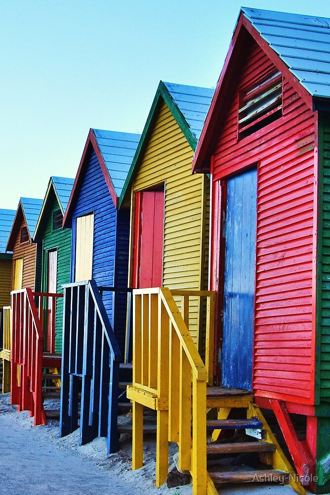 Changing huts at St James Beach, Muizenberg, near Cape Town by Ashley-Nicole