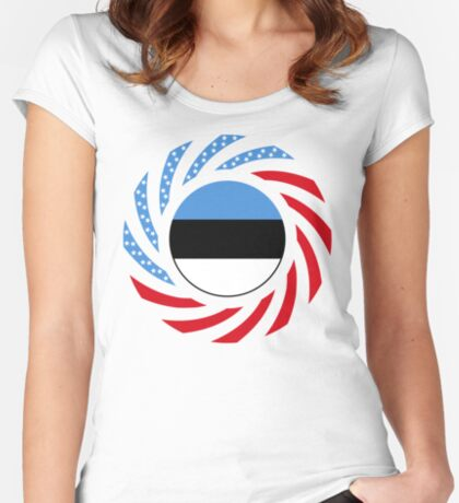 Estonian American Multinational Patriot Flag Series Fitted Scoop T-Shirt