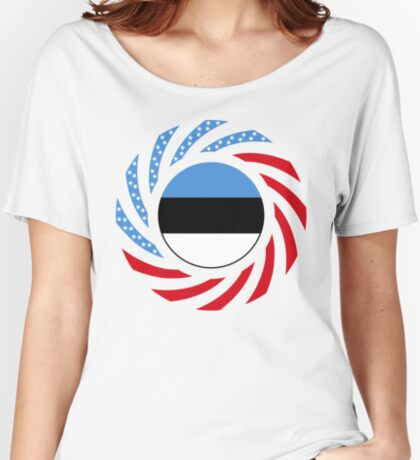 Estonian American Multinational Patriot Flag Series Relaxed Fit T-Shirt