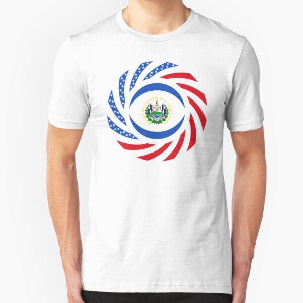 Salvadoran American Multinational Patriot Flag Series Slim Fit T-Shirt