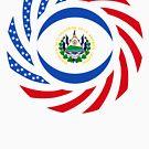Salvadoran American Multinational Patriot Flag Series by Carbon-Fibre Media