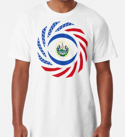 Salvadoran American Multinational Patriot Flag Series Long T-Shirt