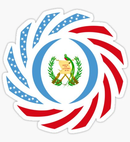 Guatemalan American Multinational Patriot Flag Series Glossy Sticker