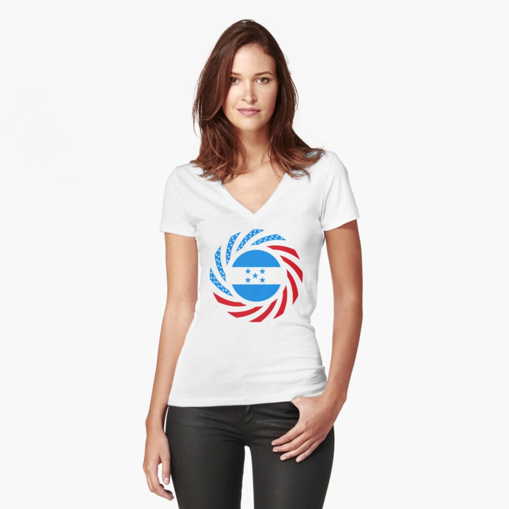 Honduran American Multinational Patriot Flag Series Fitted V-Neck T-Shirt
