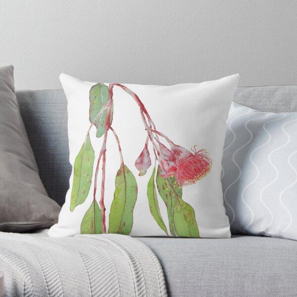 Flowering Silver Princess Eucalyptus Branch - Watercolour Throw Pillow