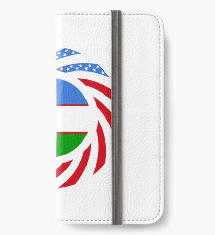 Uzbekistani American Multinational Patriot Flag Series iPhone Wallet