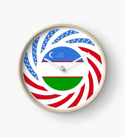 Uzbekistani American Multinational Patriot Flag Series Clock