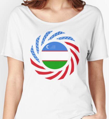 Uzbekistani American Multinational Patriot Flag Series Relaxed Fit T-Shirt
