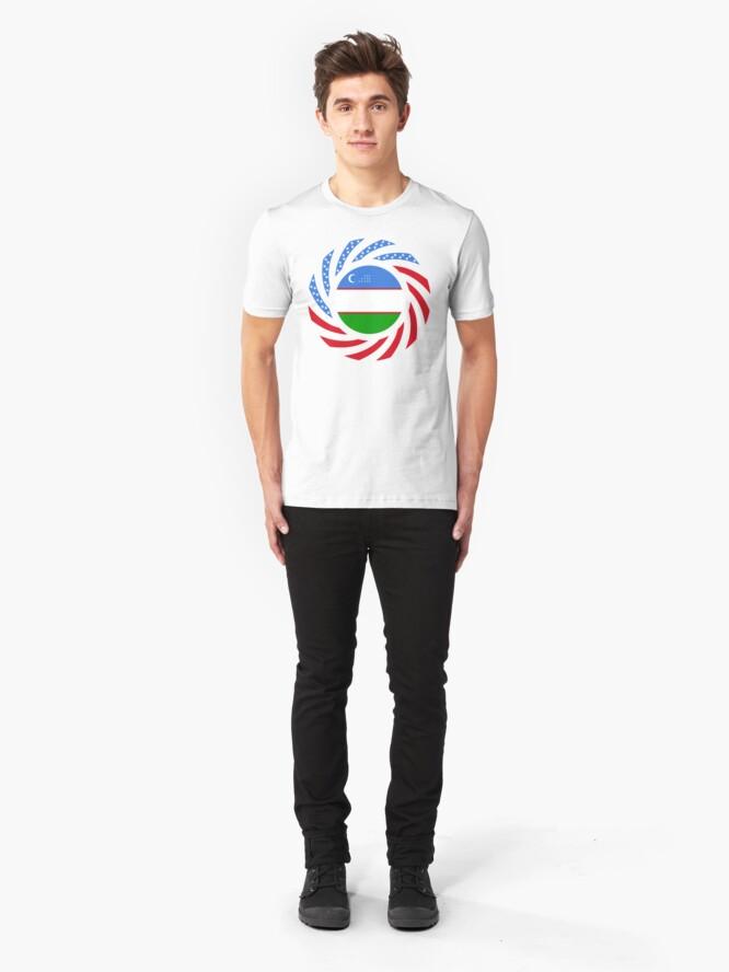 Alternate view of Uzbekistani American Multinational Patriot Flag Series Slim Fit T-Shirt