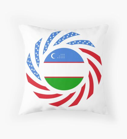 Uzbekistani American Multinational Patriot Flag Series Floor Pillow