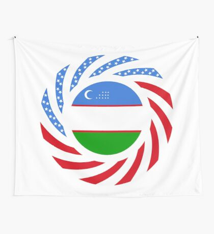 Uzbekistani American Multinational Patriot Flag Series Wall Tapestry