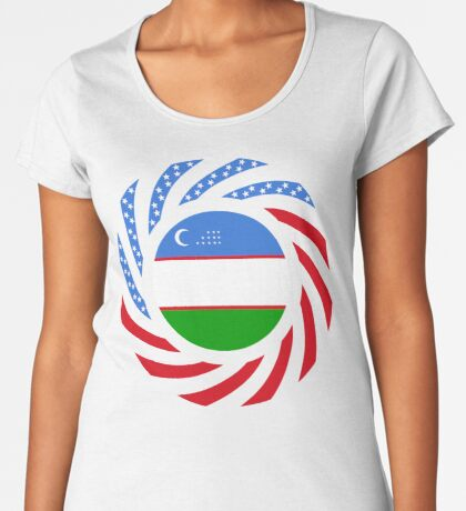 Uzbekistani American Multinational Patriot Flag Series Premium Scoop T-Shirt