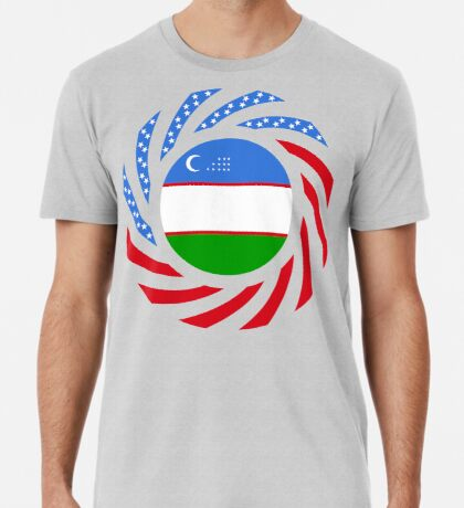 Uzbekistani American Multinational Patriot Flag Series Premium T-Shirt
