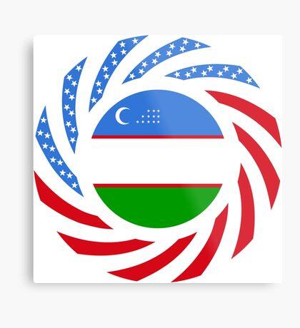 Uzbekistani American Multinational Patriot Flag Series Metal Print
